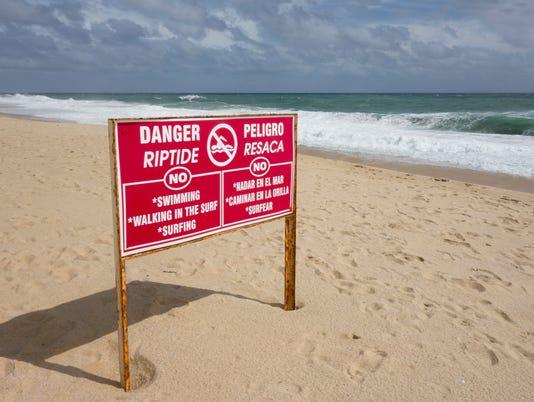 Danger Beach Riptide Sign