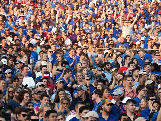 Louisiana Tech fans watch as the Bulldogs take on Mississippi