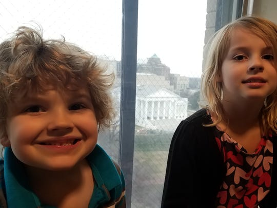 Indy and Mira Mueller pose for a photo the day that they went with their mom Shannon Mueller to Richmond to the General Assembly to talk with legislators about House Bill 676.