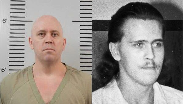 Stacy Larson's current Department of Corrections mug shot, left, and 1990 Argus Leader file photo, right.