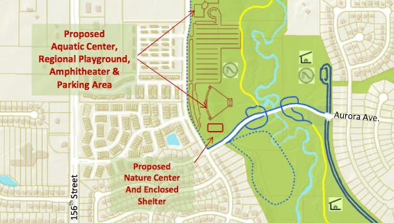 The proposed location for the Urbandale Aquatic Center in the Walnut Creek Regional Park Master Plan.