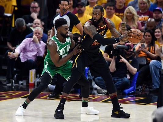 810b4005d402 NBA  Playoffs-Boston Celtics at Cleveland Cavaliers. Cleveland Cavaliers  forward LeBron James (23) looks to pass in front ...