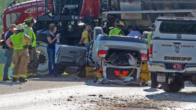 Police say one person was killed and one injured after a vehicle collided head-on with a farm truck on U.S. 2 in South Hero, Friday, August 5, 2016.
