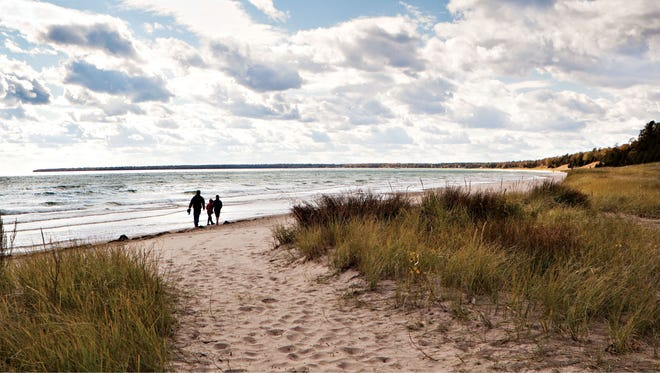 Whitefish Dunes State Park features a sandy beach along Lake Michigan