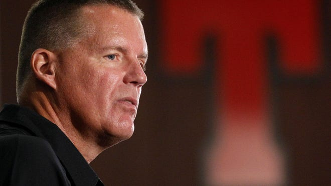 The University of Connecticut on Wednesday became the first member of the Football Bowl Subdivision to abandon its schedule in full because of the coronavirus pandemic. Pictured is UConn football head coach Randy Edsall.