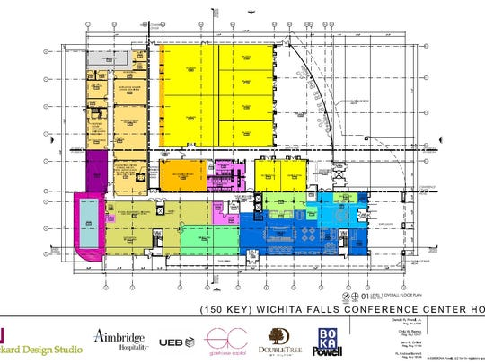 An early architectural design shows the proposed hotel as an L-shape with the yellow square in the middle top being the convention center. The city of Wichita Falls is working toward a new $30 million full-service hotel within walking distance to the Multi-Purpose Events Center.