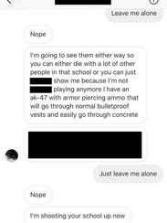 Messages sent to a middle school student through Instagram.
