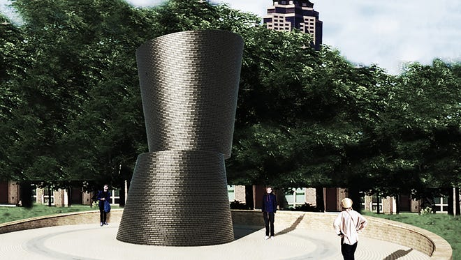 A rendering of a new sculpture planned in downtown Des Moines.