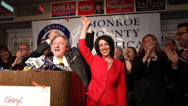 Monroe County Republican Chair Bill Reilich introduces newly elected Monroe County Executive Cheryl Dinolfo.