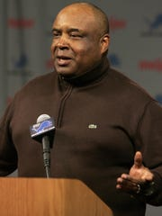 Detroit Lions assistant coach Kippy Brown talks with the media Jan. 17, 2008, in Allen Park,