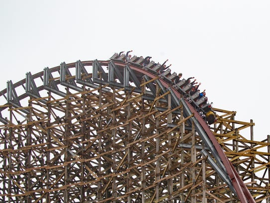 The Steel Vengeance completes a 116-foot-high curve,
