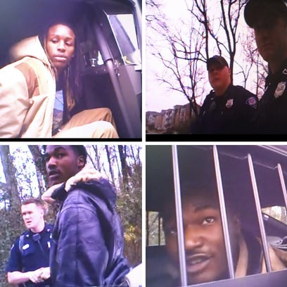 Screenshots from the body cam footage of the arrest