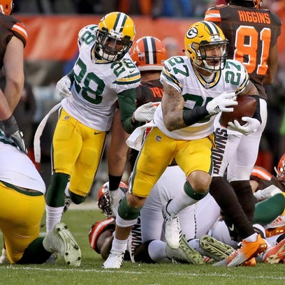 Green Bay Packers strong safety Josh Jones (27) emerges