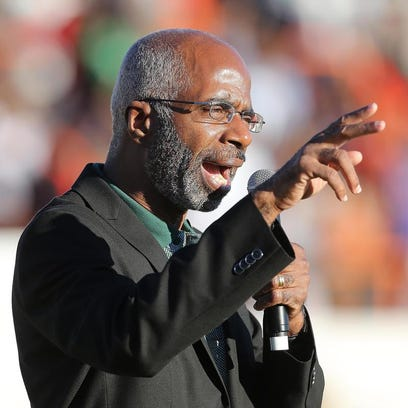 FAMU interim President Larry Robinson fires up the Rattler faithful during the homecoming game on Nov. 10. Robinson attended his final Board of Trustees meeting Thursday.