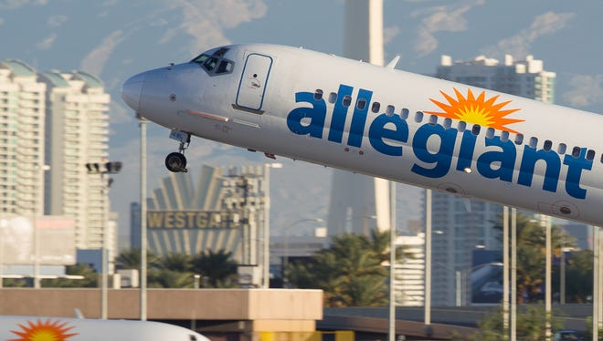 Allegiant MD-80s trade places at Las Vegas McCarran International Airport on Oct. 2, 2016.