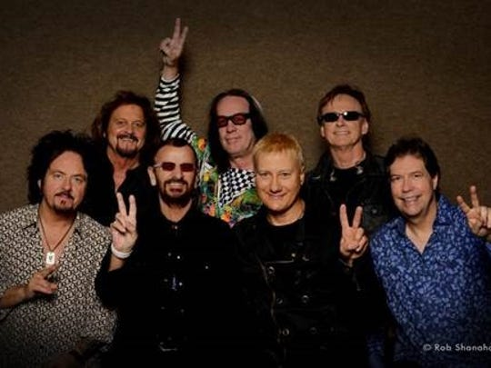 Left To Right: Steve Lukather, Gregg Rolie, Ringo Starr, Todd Rundgren, Gregg Bisonette,  Richard Page, Warren Ham