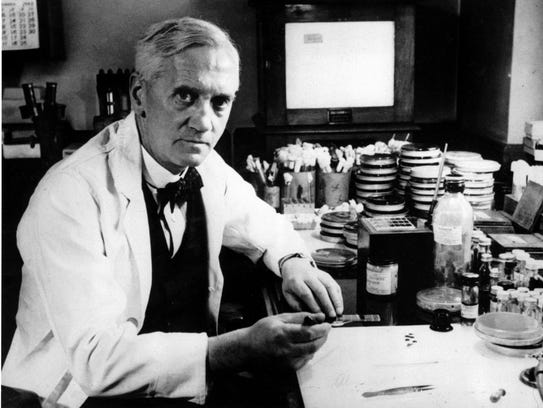 Sir Alexander Fleming is seen in 1952 at London's Wright