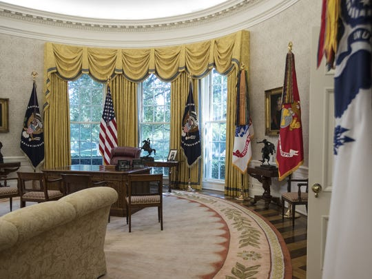 The newly renovated Oval Office of the White House