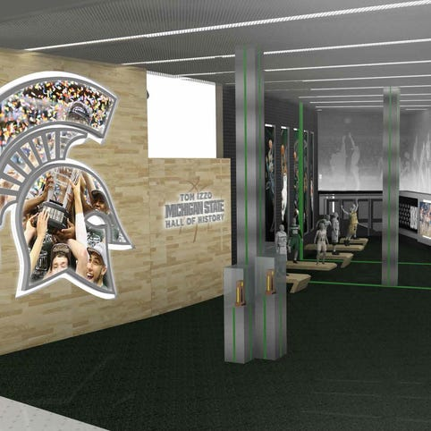 An artist's rendering of the Tom Izzo Hall of History, which is a planned part of the Breslin Center renovations that are expected to be completed in the fall of 2017.