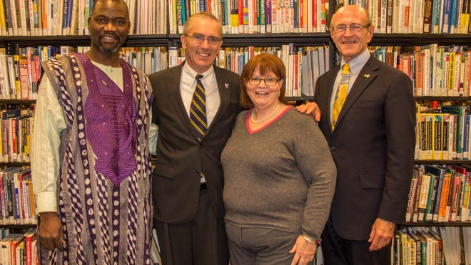 Tompkins County Public Library Foundation campaign co-chairs are L-R: Aloja Airewele, Tom Rochon, Jean Mcpheeters and Carl Haynes. Not pictured is David Skorton