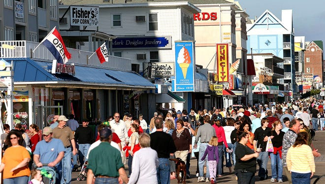The Ocean City Council is considering a proposal to ban public profanity on the boardwalk. Here, visitors pack the boardwalk on an unusually warm day in January 2007.