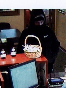 Security footage of the man who robbed the Hershey Federal Credit Union in Annville at 9:25 a.m. Monday, Feb. 20, 2018. The man announced that he had a gun before fleeing with an undisclosed amount of cash, according to police.