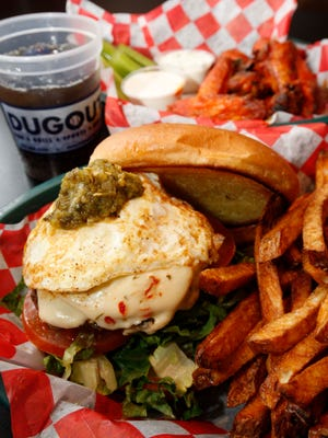 The Chile Burger and Smoked Wings at The Dugout in Springfield.