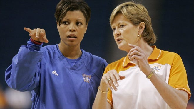 Tennessee coach Pat Summitt, right, and assistant coach Nikki Caldwell watch practice for the NCAA Women's Final Four basketball game Saturday, April 5, 2008, in Tampa, Fla. Tennessee faces LSU in a national semifinal game Sunday.