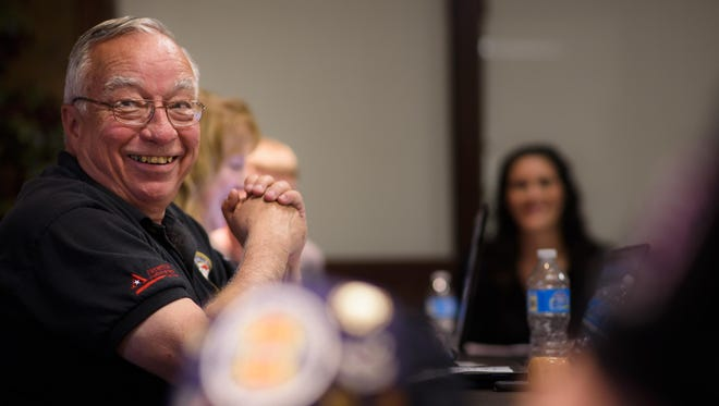 James Strong hosts a recent Fox Valley Veterans Council meeting at American National Bank in Appleton.