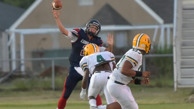 Quarterback Brett Dotson as Comeaux High School host the Cecelia Bulldogs to kickoff Football season. September 2, 2016