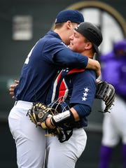 Vanderbilt pitcher Mason Hickman (44) and catcher Stephen