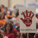 Several hundred residents packed the Sept. 15, 2014 public hearing on the Algonquin pipeline expansion project at the Muriel Morabito Community Center in Cortlandt Manor.