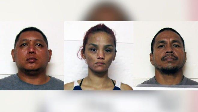 Combined mugshot of Brandon Acfalle Quinata, Amelia Christina Manglona and John Leonard Mata Cruz