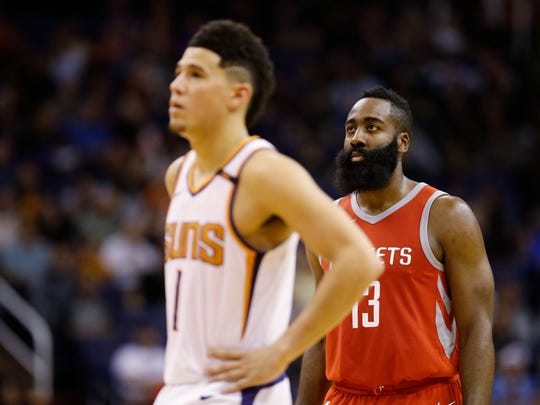 Phoenix Suns Devin Booker and Houston Rockets James