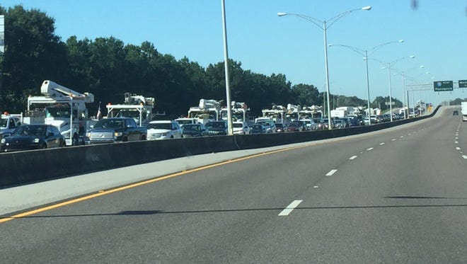 Eastbound traffic on I-10 backs up on Tuesday, Sept. 12, 2017, as evacuees who fled from Hurricane Irma and emergency crews head to South Florida.