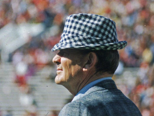 "Paul ""Bear"" Bryant coached at Alabama from 1958 until 1982, winning six national champions with the Crimson Tide. Bryant died in January 1983 shortly after his retirement."