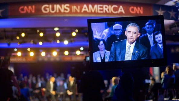 President Obama during a CNN town hall in Fairfax,