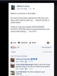 A Facebook post on Mallory's Army page.