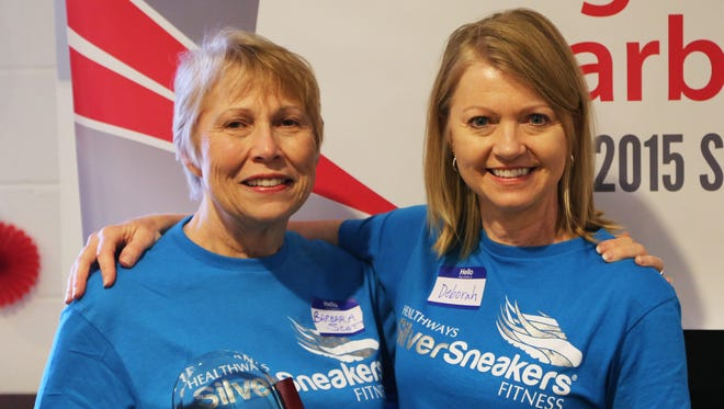 BlueAdvantage member Barbara Scott (left) was one of 10 finalists for the SilverSneakers Richard Swanson Inspiration Award. Scott is pictured with her nominator, Deborah Walter, who is also her yoga instructor.