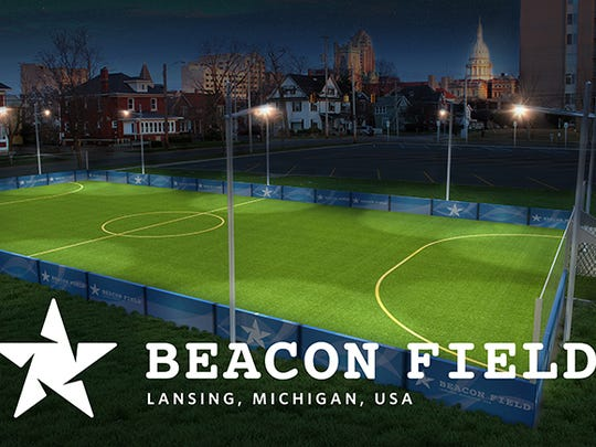 Here's a look at a rendering created before the Beacon Soccer Field in Ferris Park opened two years ago. Plans for a new field called Beacon Southwest are expected to include similar features.