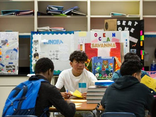 Daniel Saldana, a ninth-grade student at Elsik Ninth Grade Center, looks up during a quiz about biomolecules.