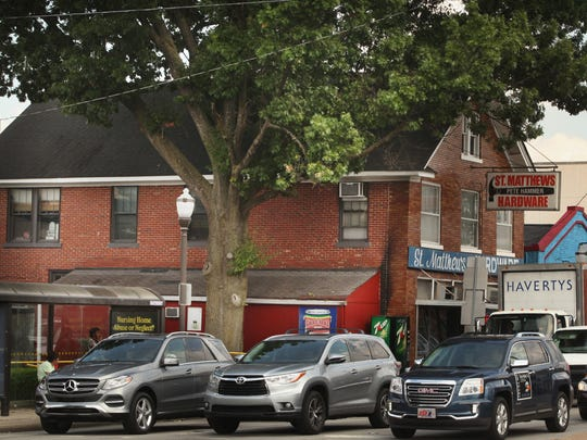 The way it was not that long ago - a large oak tree next to the former St. Matthews Hardware.
