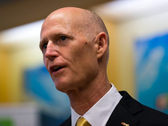 Florida Gov. Rick Scott speaks about the state's job market during a press conference at eMaint Enterprises on Friday, May 6, 2016, in Bonita Springs. Scott spoke at the maintenance software company which recently relocated its world headquarters to Bonita Springs and plans to add 150 jobs. (David Albers/Staff)