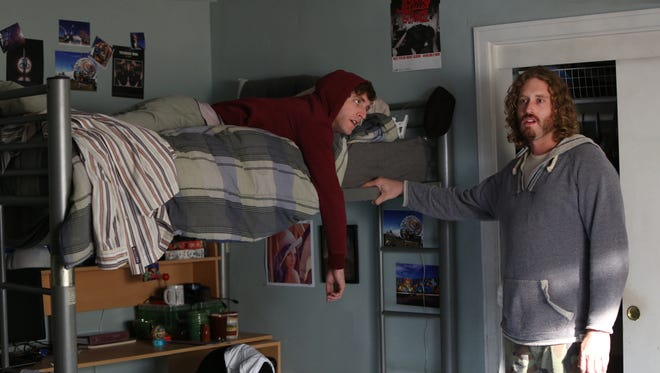 Richard (Thomas Middleditch, left) learns an important business lesson on 'Silicon Valley': never make drunk promises to Erlich (T.J. Miller).