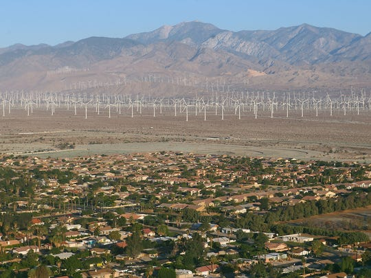 An aerial view of Palm Springs looking west.