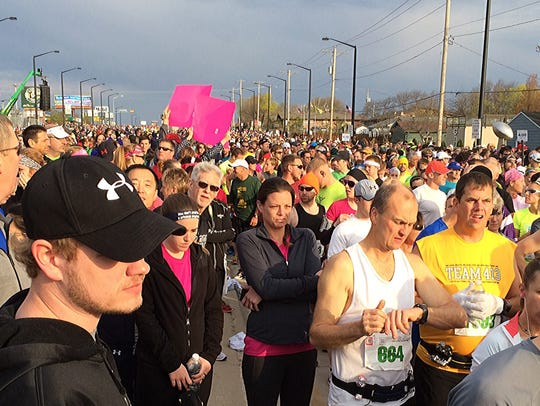 Runners line up for a recent Cellcom Green Bay Marathon.