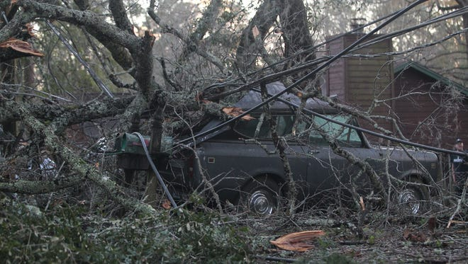 A tree blew over and smashed the two cars owned by Chad Dukes, who works for the Department of Environmental Protection.