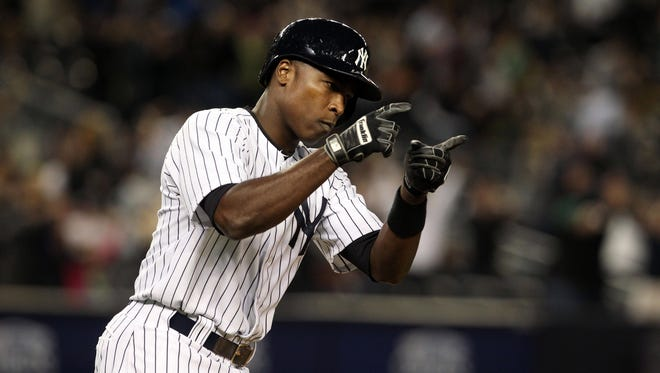 Soriano after hitting a home run against the Tampa Bay Rays at Yankee Stadium.