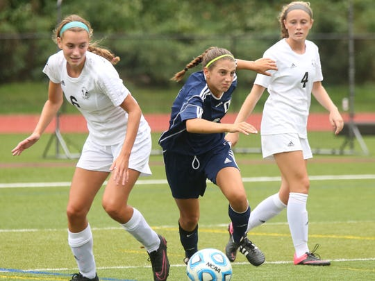 Senor Samantha Derrico (dark jersey) is among the key returnees for Northern Valley at Old Tappan.