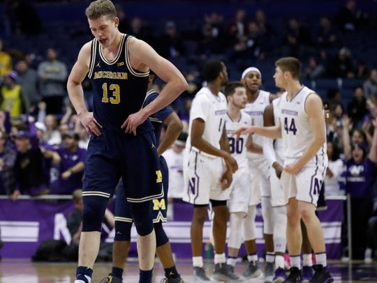 Michigan Wolverines forward Moritz Wagner (13) reacts